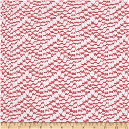 Rayon Challis Scales Coral Pink/White