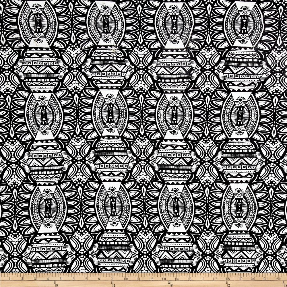 Rihan Jersey Knit Tribal Sun Black/White Fabric
