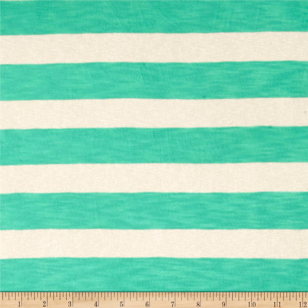 Lightweight Sweater Knit Sheer Mint Stripes on Ivory Fabric