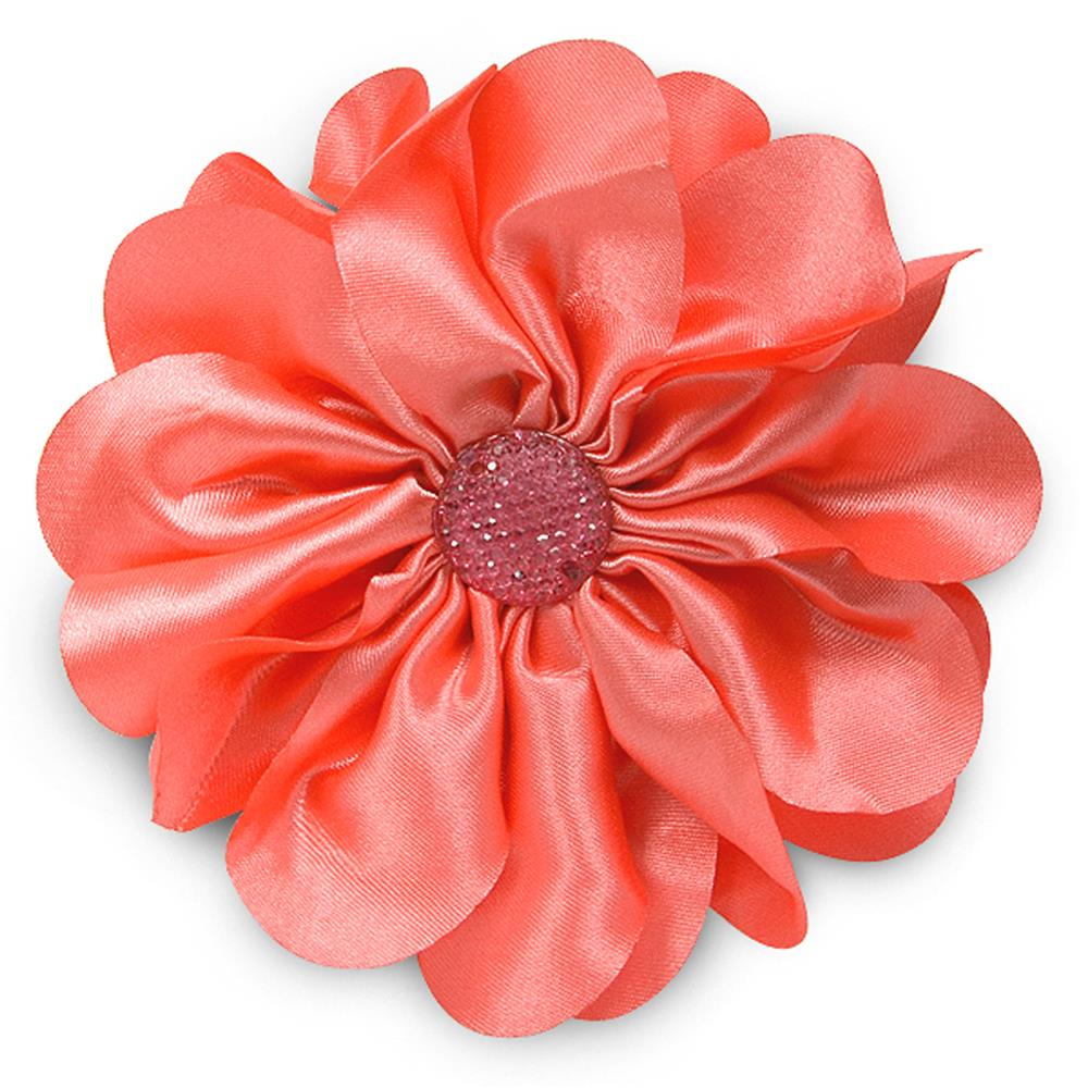 "4-1/2"" Satin Flower Brooch And Hairclip Sparkle Center Coral"