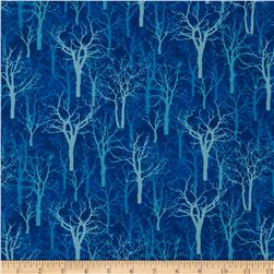 Winter Blues Trees Dark Blue Fabric