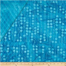 Indian Batik Double Sided Quilted Vertical Dots Turquoise