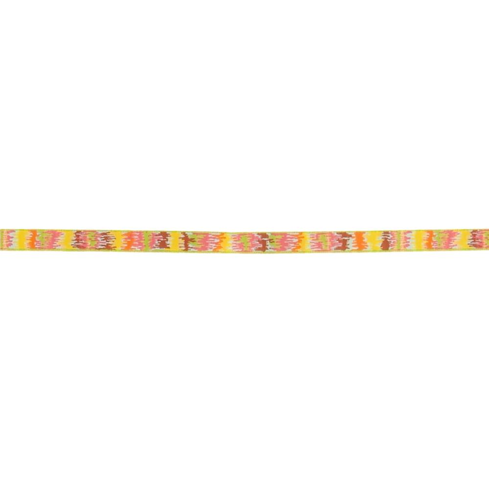 3/8'' Dena Designs Mini Ikat Ribbon Pink Green