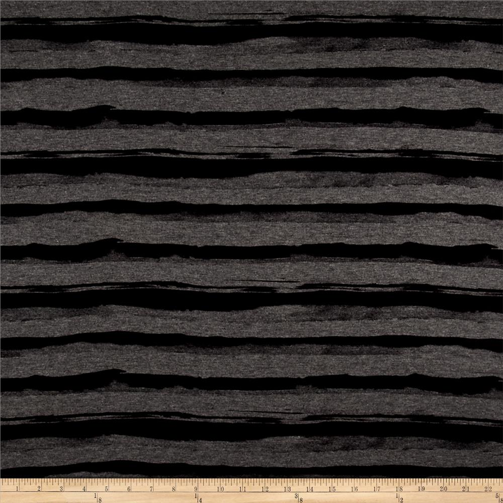 Stretch Jersey Knit Abstract Stripes Charcoal Black