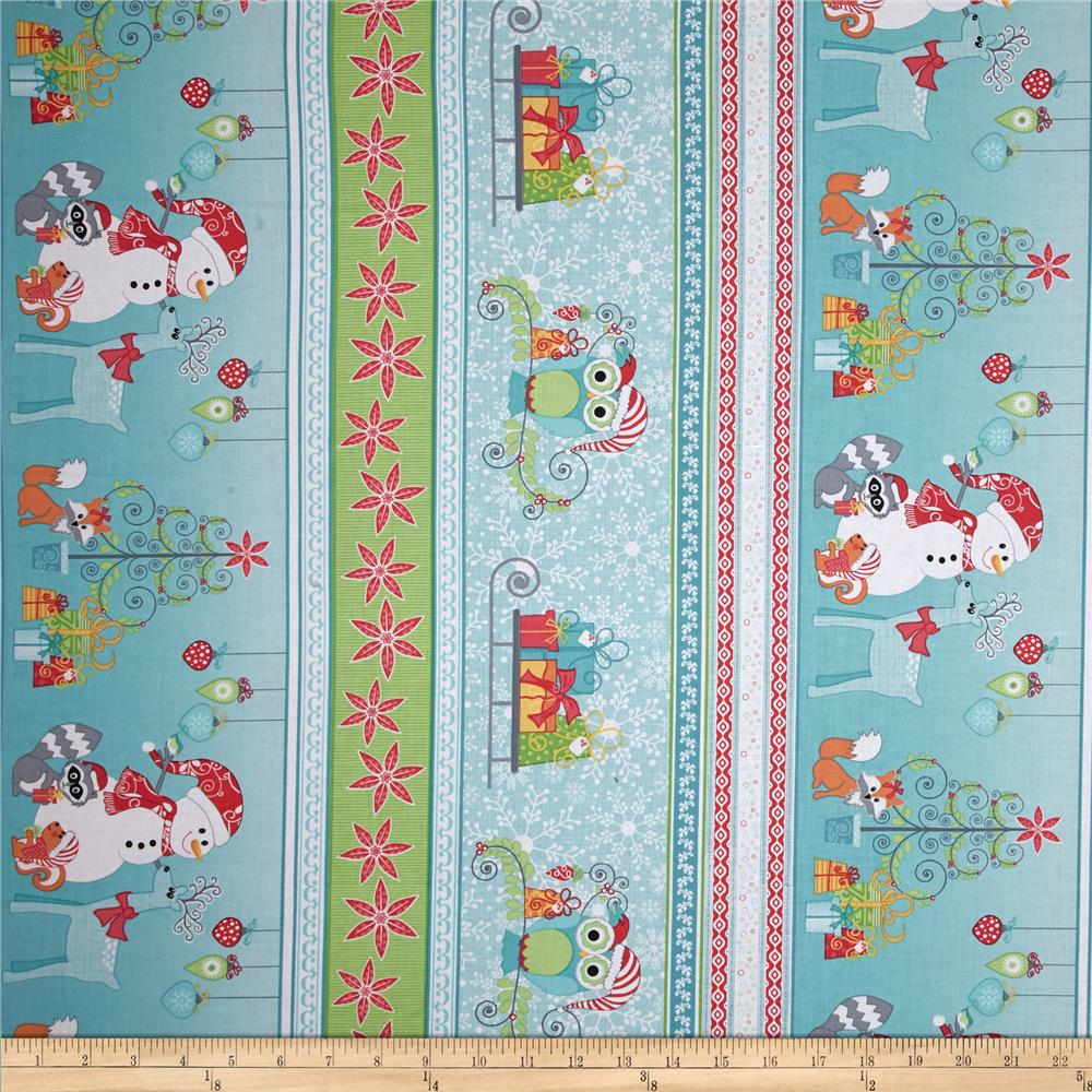 Frosty Forest Border Stripe Turquoise/Red