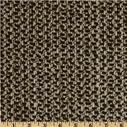 Wool Blend Coating Chunky Weave Cream/Brown