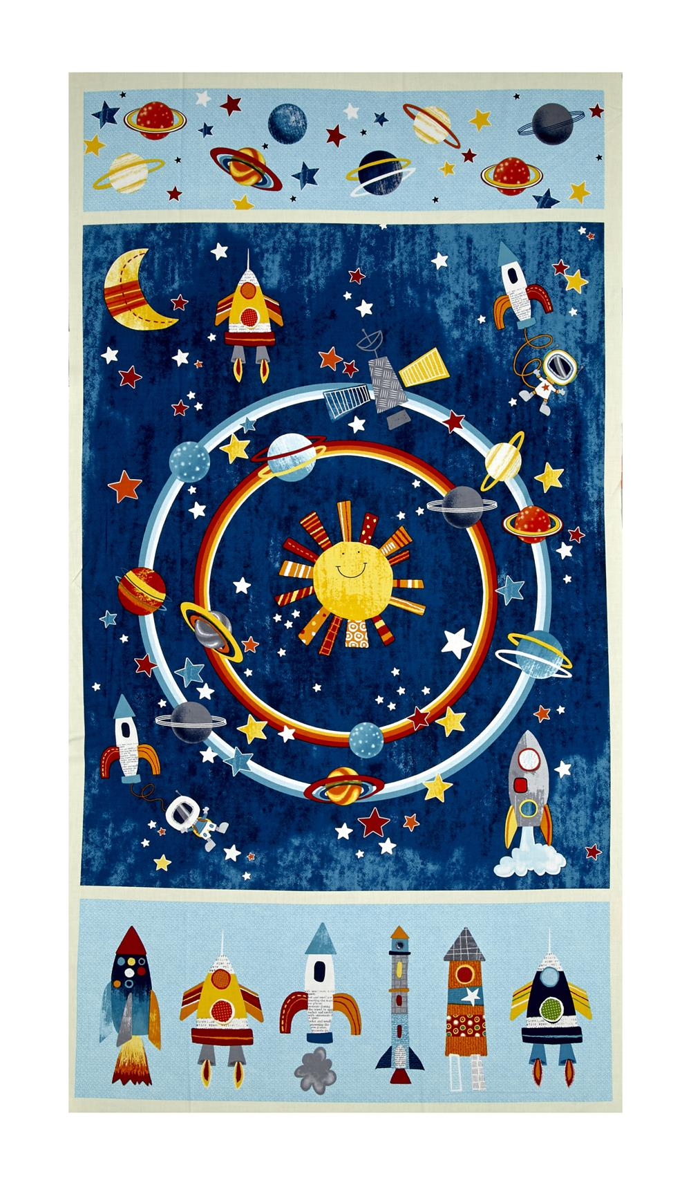 Outer space discount designer fabric for Space fabric quilt