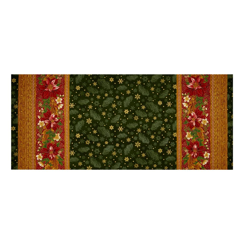 "Kaufman Holiday Flourish Metallic 60"" Wide Double Border Green"