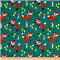 Michael Miller Flannel Lil' Foxy Teal
