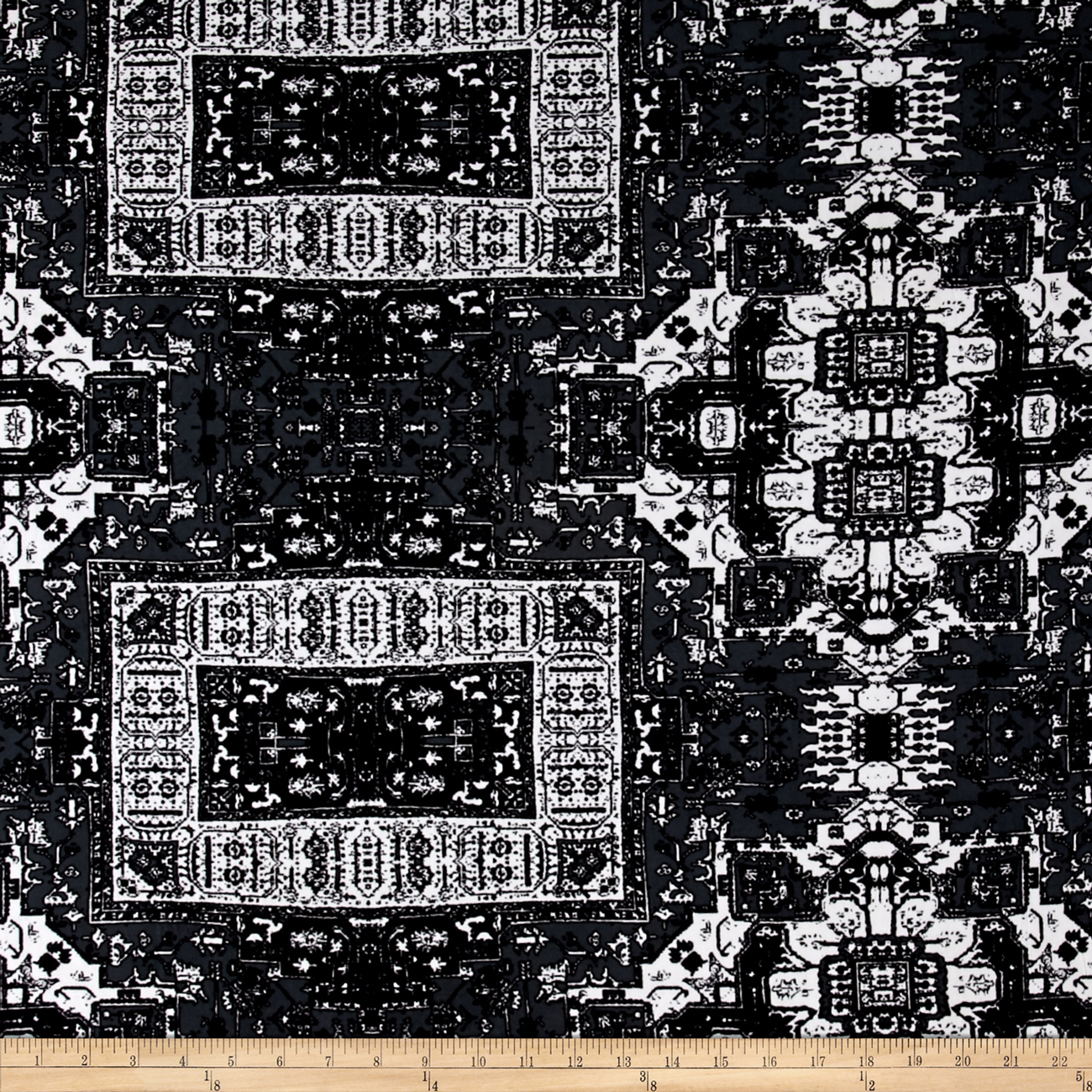 Stretch ITY Knit Aztec Print Grey Fabric by Mike Cannety in USA