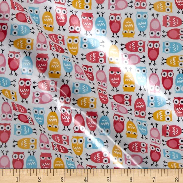 Kaufman Slicker Laminated Cotton Mini Owls Sorbet