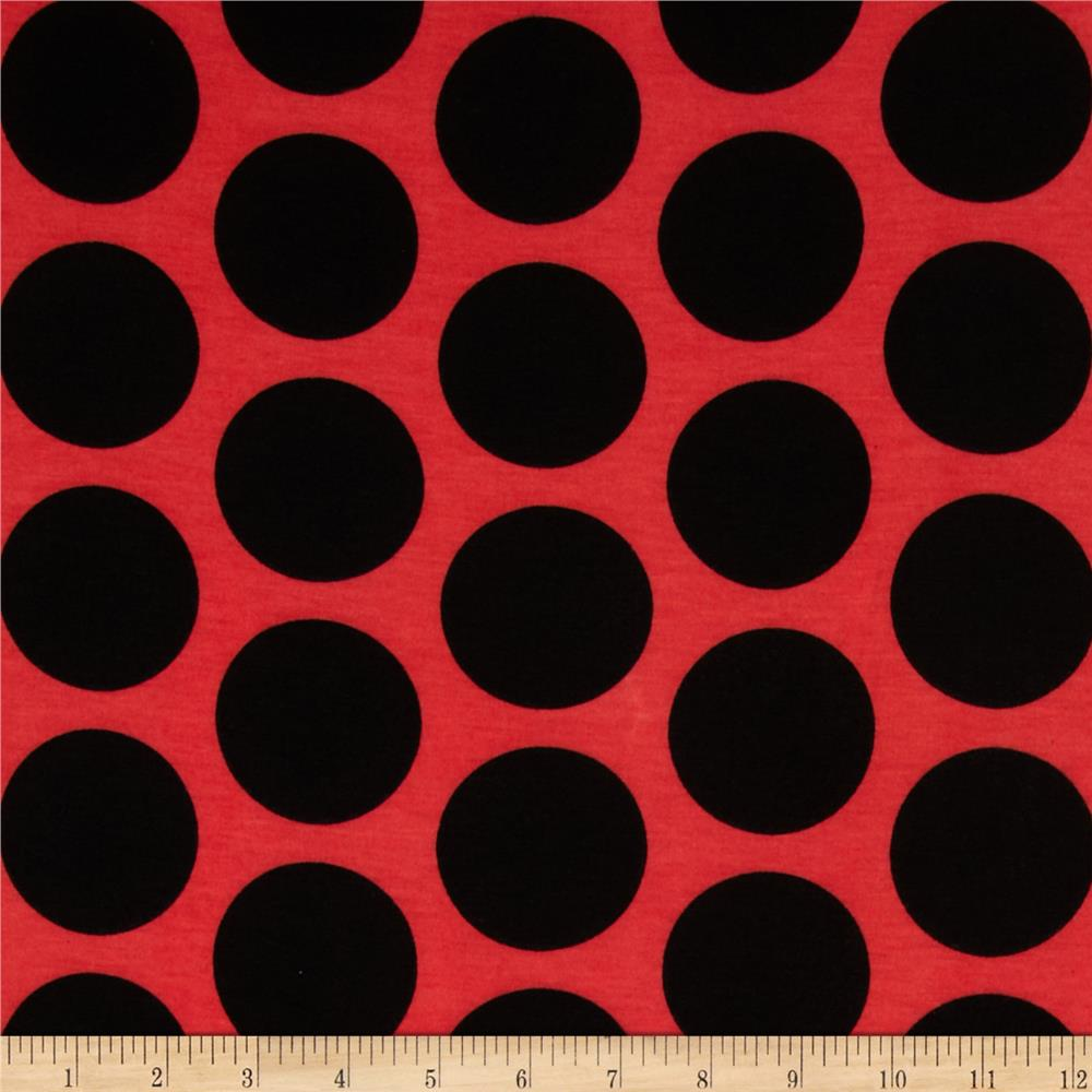 Soft Jersey Knit Polka Dot Black/Coral