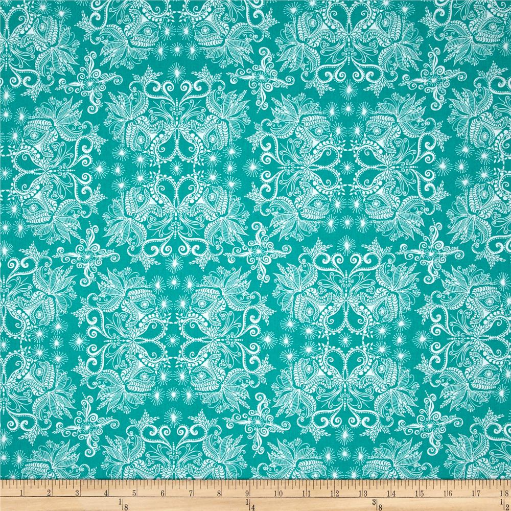 Kaufman In the Bloom Abstract Flowers Turquoise