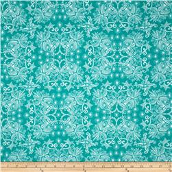 Robert Kaufman In the Bloom Abstract Flowers Turquoise