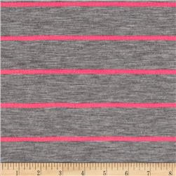 Designer Stripe Jersey Knit Grey/Hot Pink