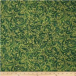 Irish Charm Metallic Shamrock Scroll Emerald/Gold Fabric