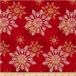 Season's Greetings Large Snowflakes Red