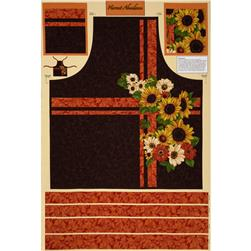 Harvest Abundance Sunflower Apron Panel Brown