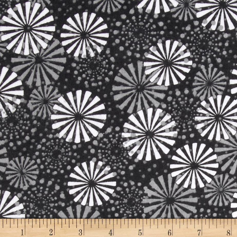 Playful Penguins Flannel Dotted Snowflake Black