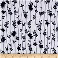Telio Pebble Crepe Blue Floral on White