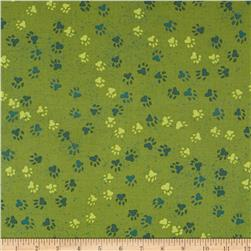 Dog Park Paw Print Green