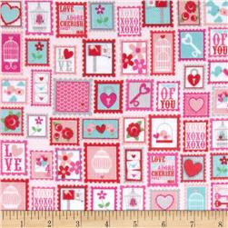 Riley Blake Lovey Dovey Flannel Stamps Red Fabric