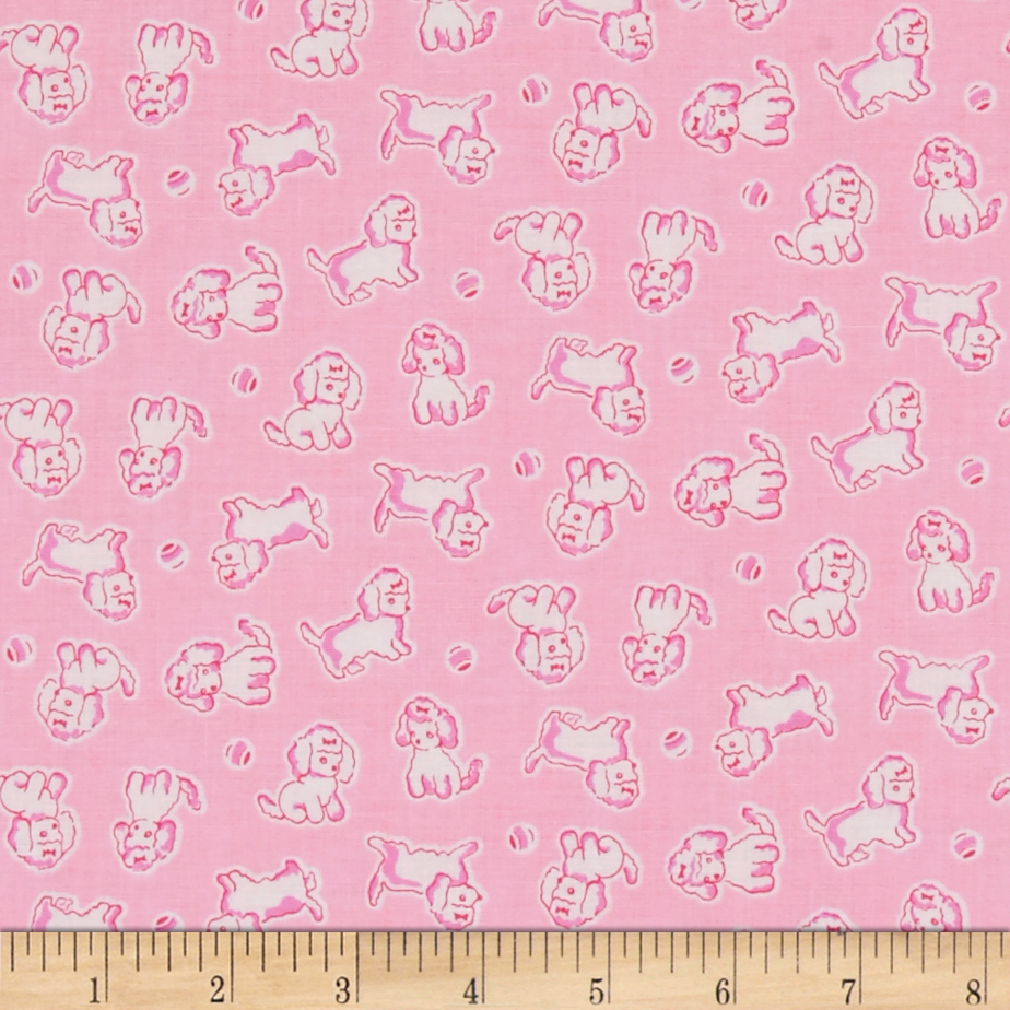 Penny Rose Strawberry Biscuit Poodle Pink Fabric