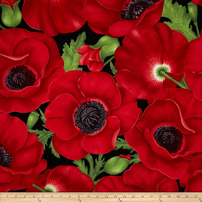 Timeless Treasures Poppies Extra Large Poppy Red