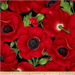 Flora Extra Large Poppy Red Fabric