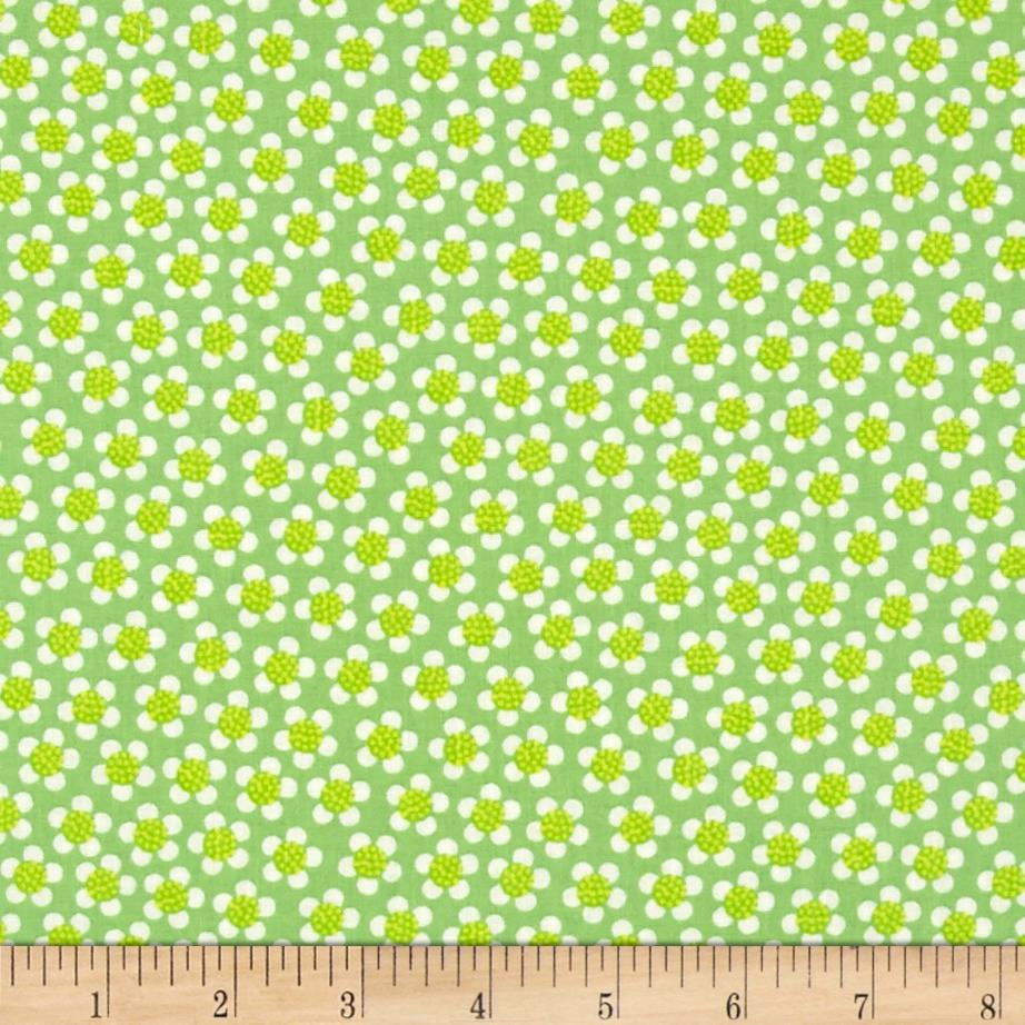 Kanvas Funny Bunnies Ditsy Daisy Lime Fabric