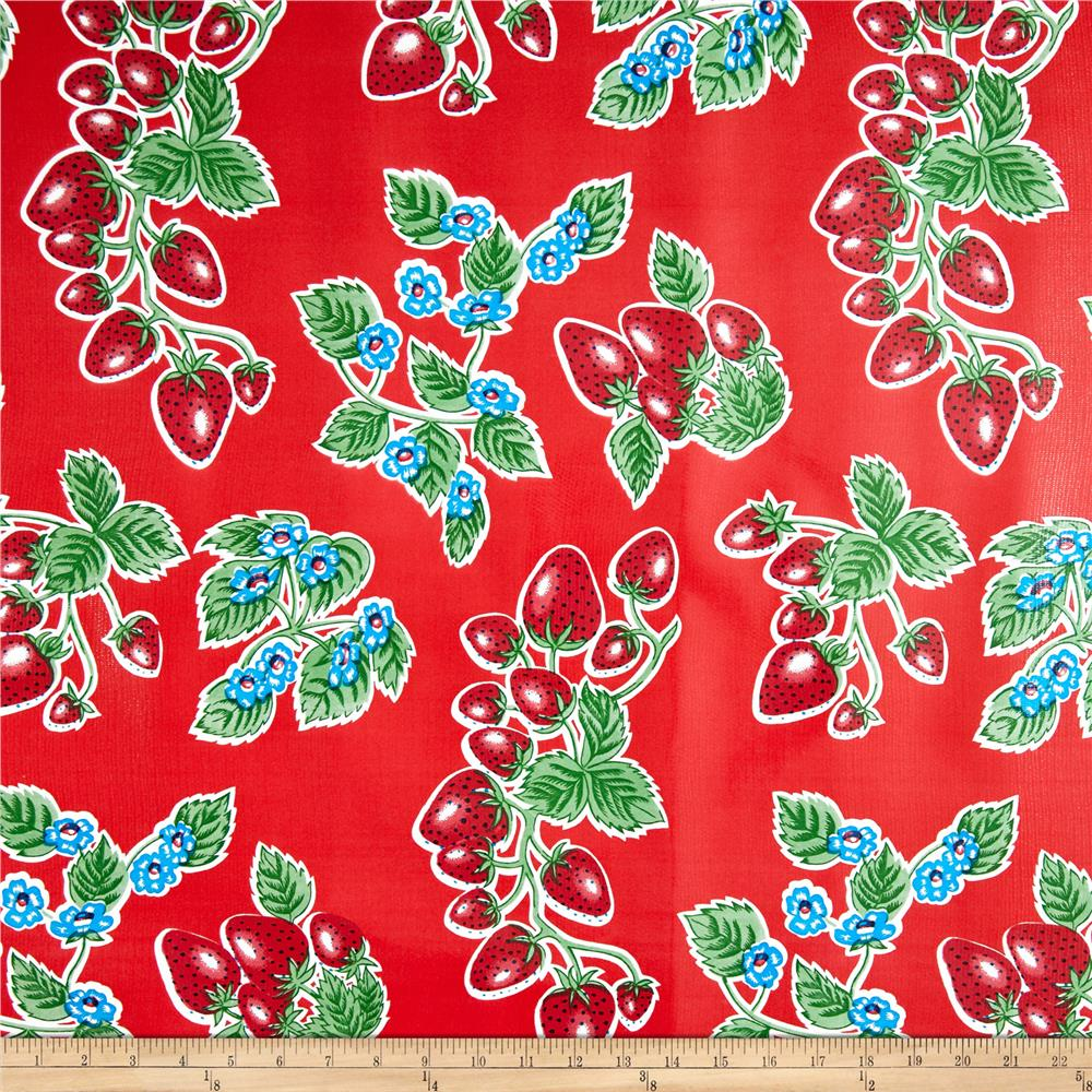 Oil Cloth Strawberries Red