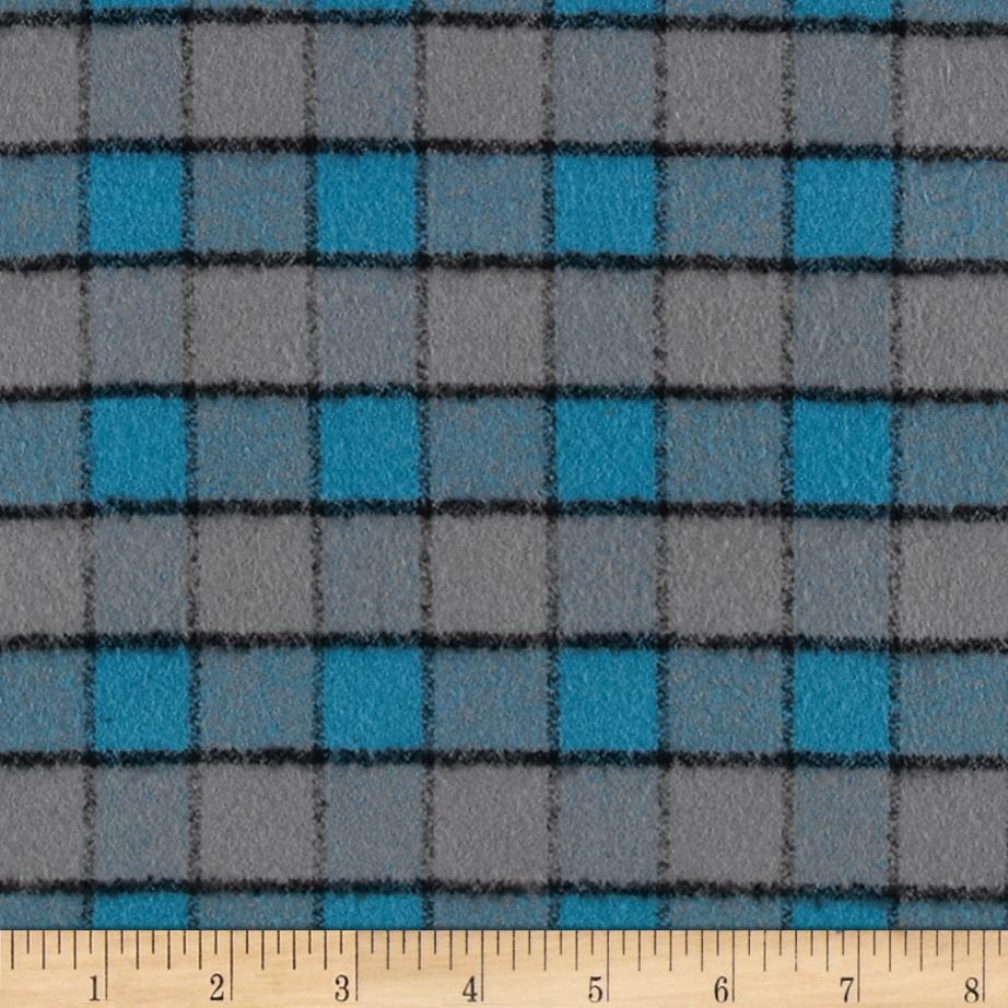 Kaufman Mammoth Flannel Plaid Ocean Fabric By The Yard