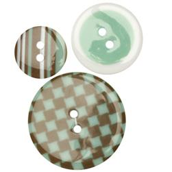 Fashion Buttons 3/4'', 1.00'', 1 3/8'' Coordinates Checks & Stripes Aqua/Taupe