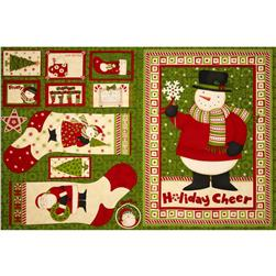 Ho Ho Holiday Stocking & Ornament Panel Green/Multi
