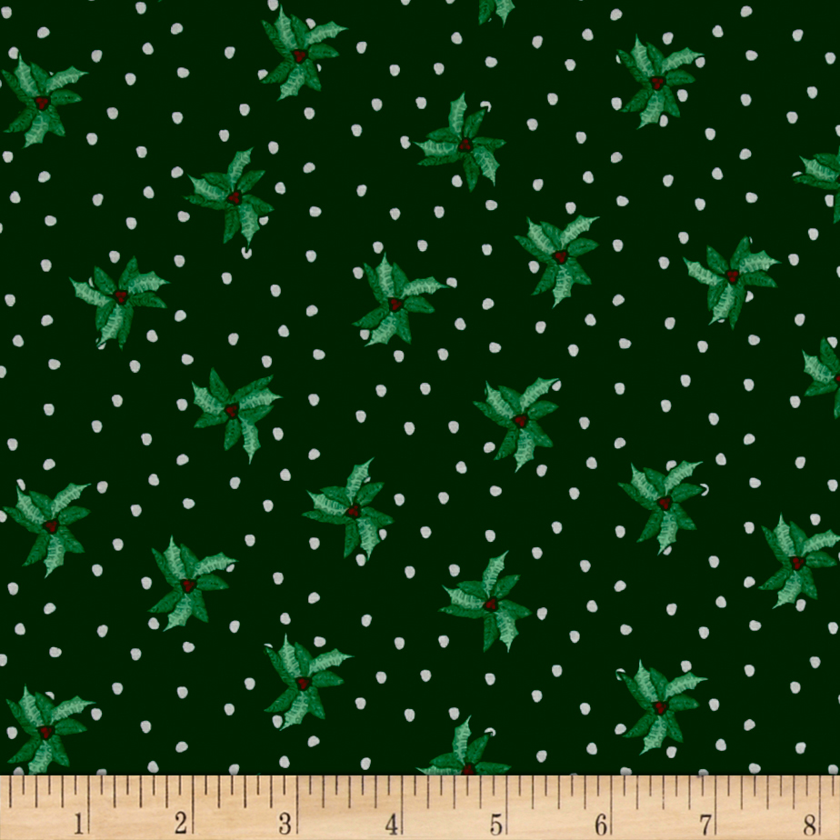 Christmas Wishes Bits Of Holly Evergreen Fabric By The Yard