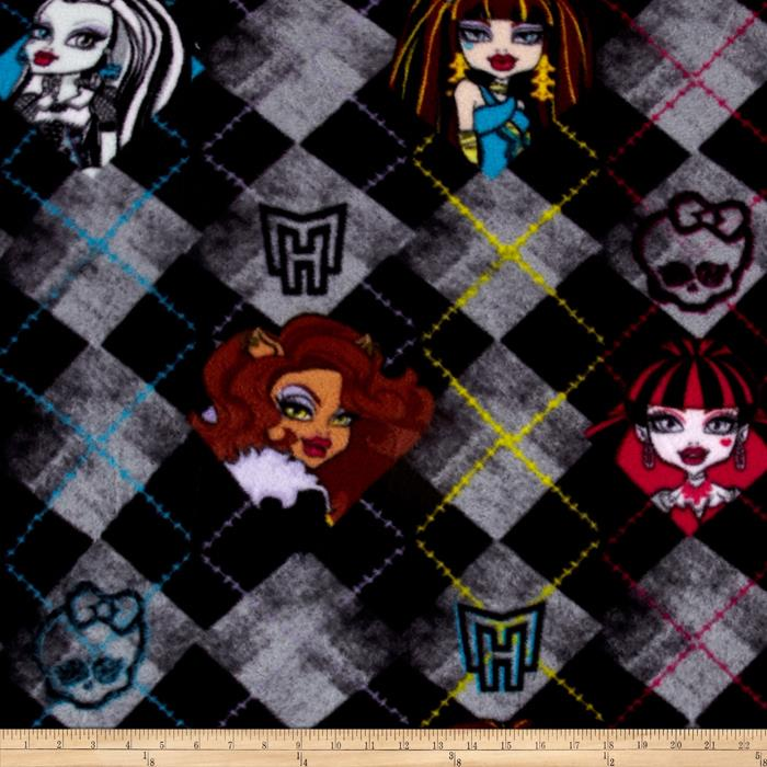 Fleece Monster High Argyle Black Fabric By The Yard