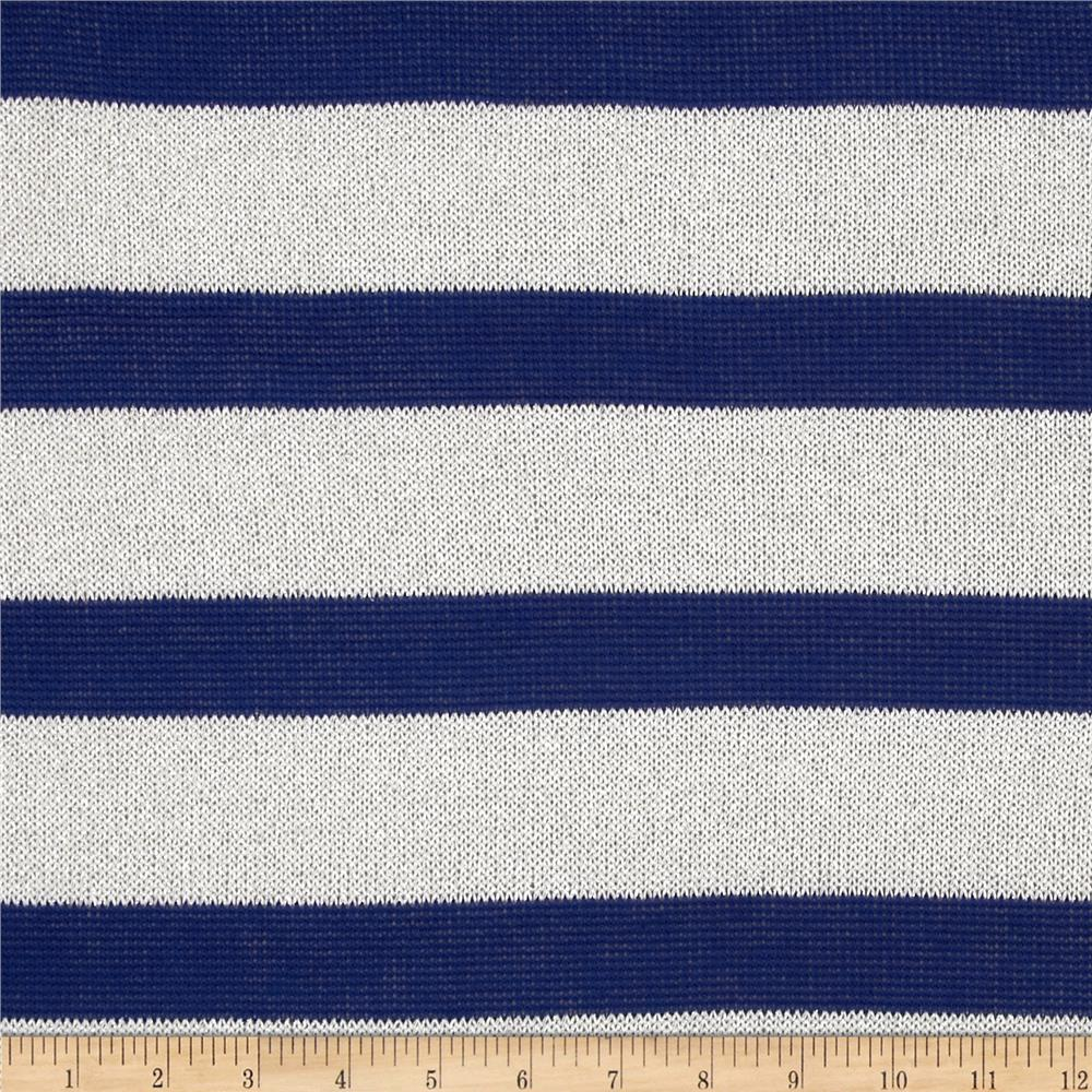 Stretch Sparkle Sweater Knit Stripes Royal/White