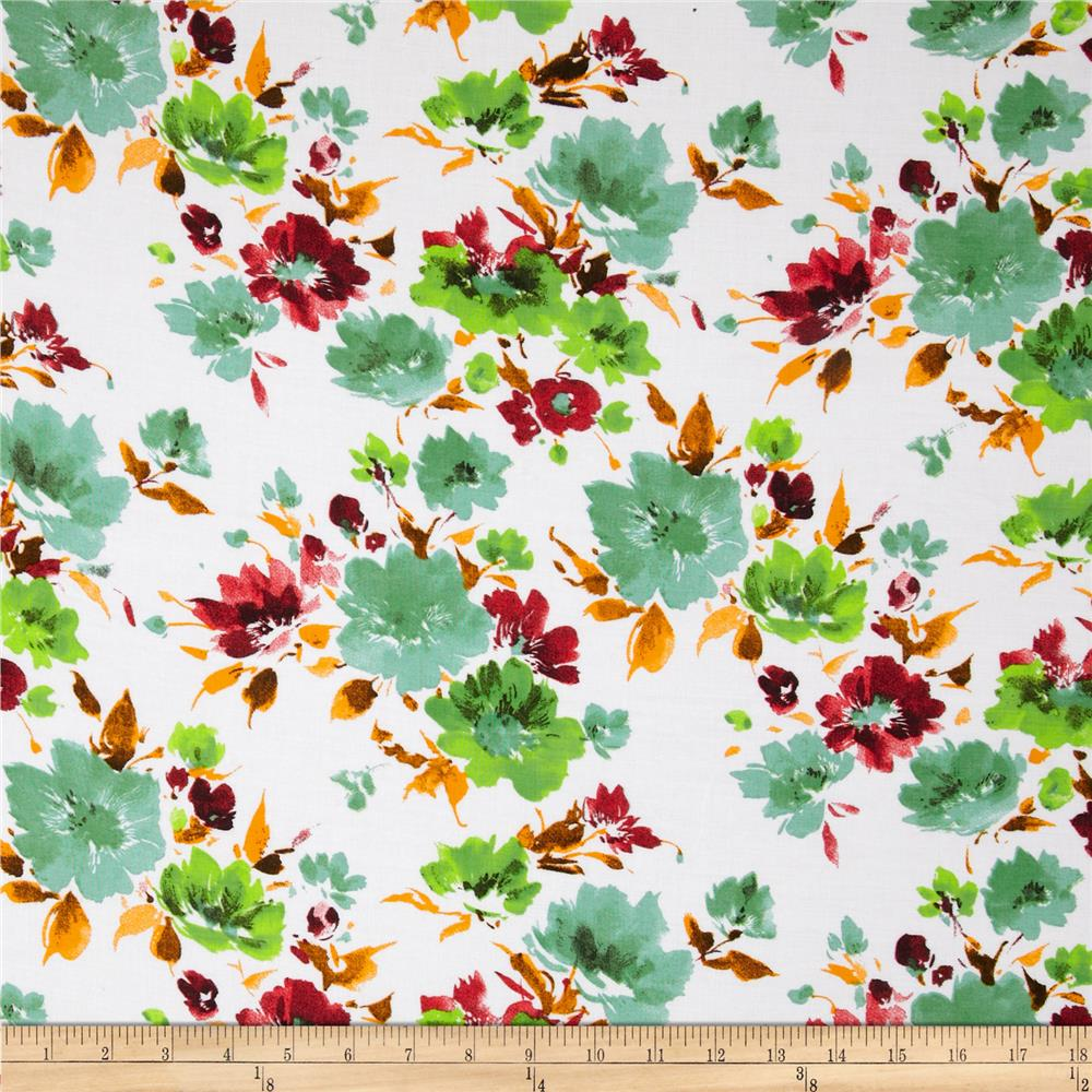 Designer Rayon Shirting Floral Red/Sage