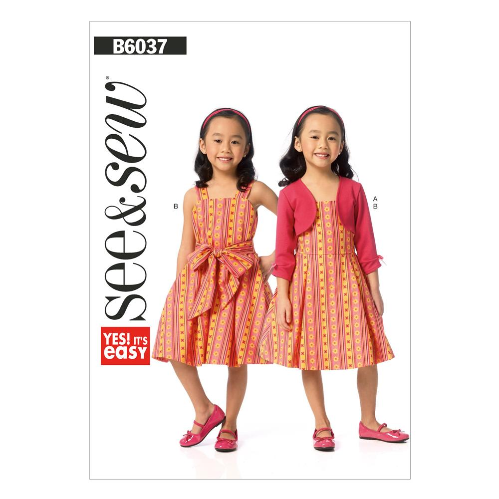 Butterick Children's/Girls' Shrug and Dress Pattern B6037 Size