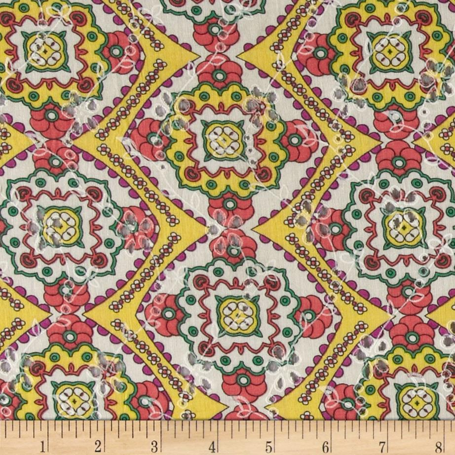 Faux Eyelet Tile Coral/Green/Yellow