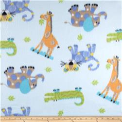 Fleece Print Tiny Jungle Blue