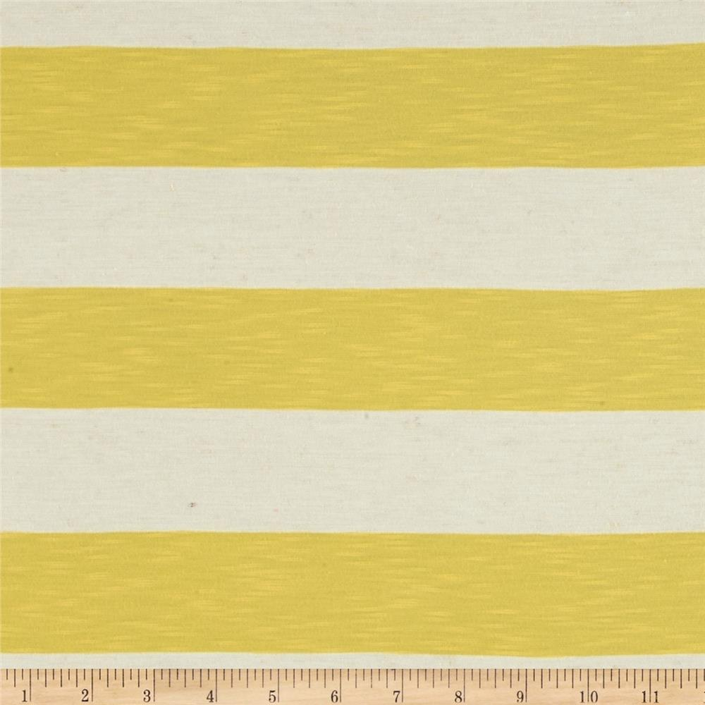 Stretch Yarn Dyed Slub Jersey Knit Stripes Yellow/White