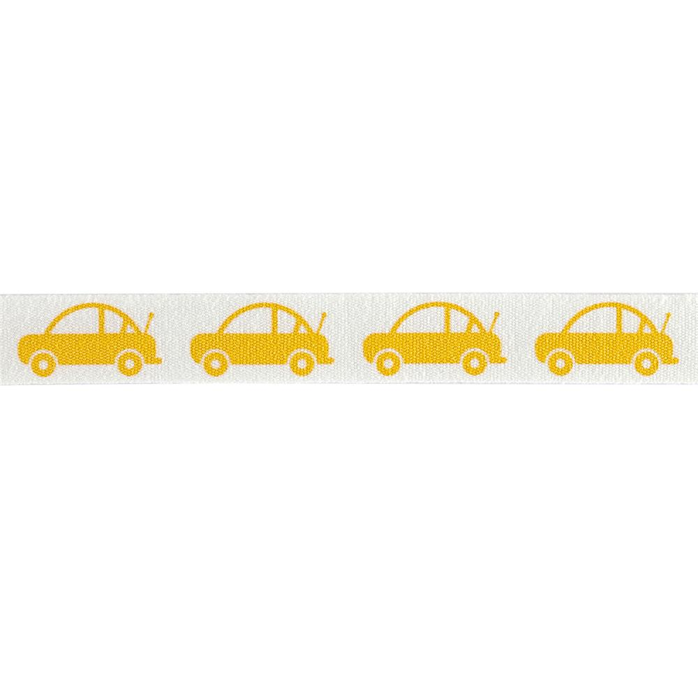 "Riley Blake 1/2"" Cotton Tape Ribbon Cars Yellow"