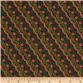 Bloomsbury Diagonal Floral Stripe Black