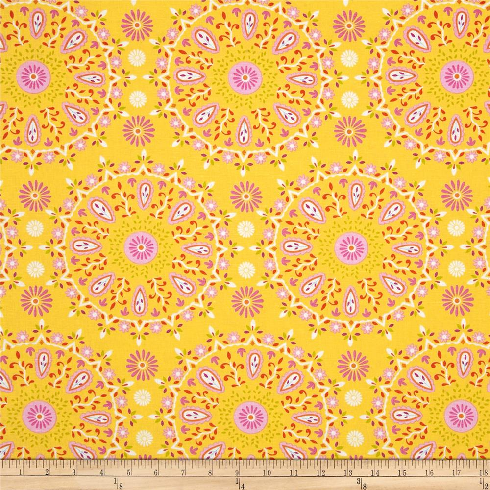 Dena Designs Home Décor Sunshine Circle Medallion Linen Blend Yell