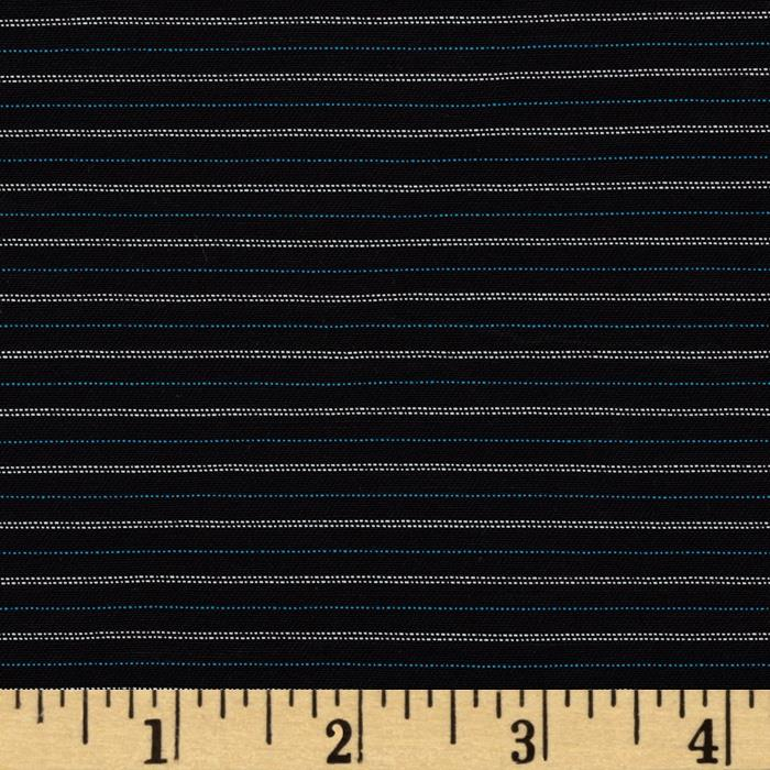 Stretch Suiting Stripe Black/Silver/Blue