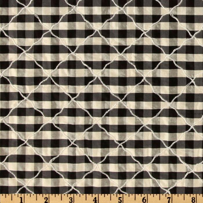 Quilted Silk Dupioni Diamond Check Black/Cream