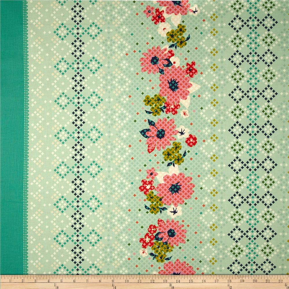 Cotton & Steel Mustang Rose Border Teal