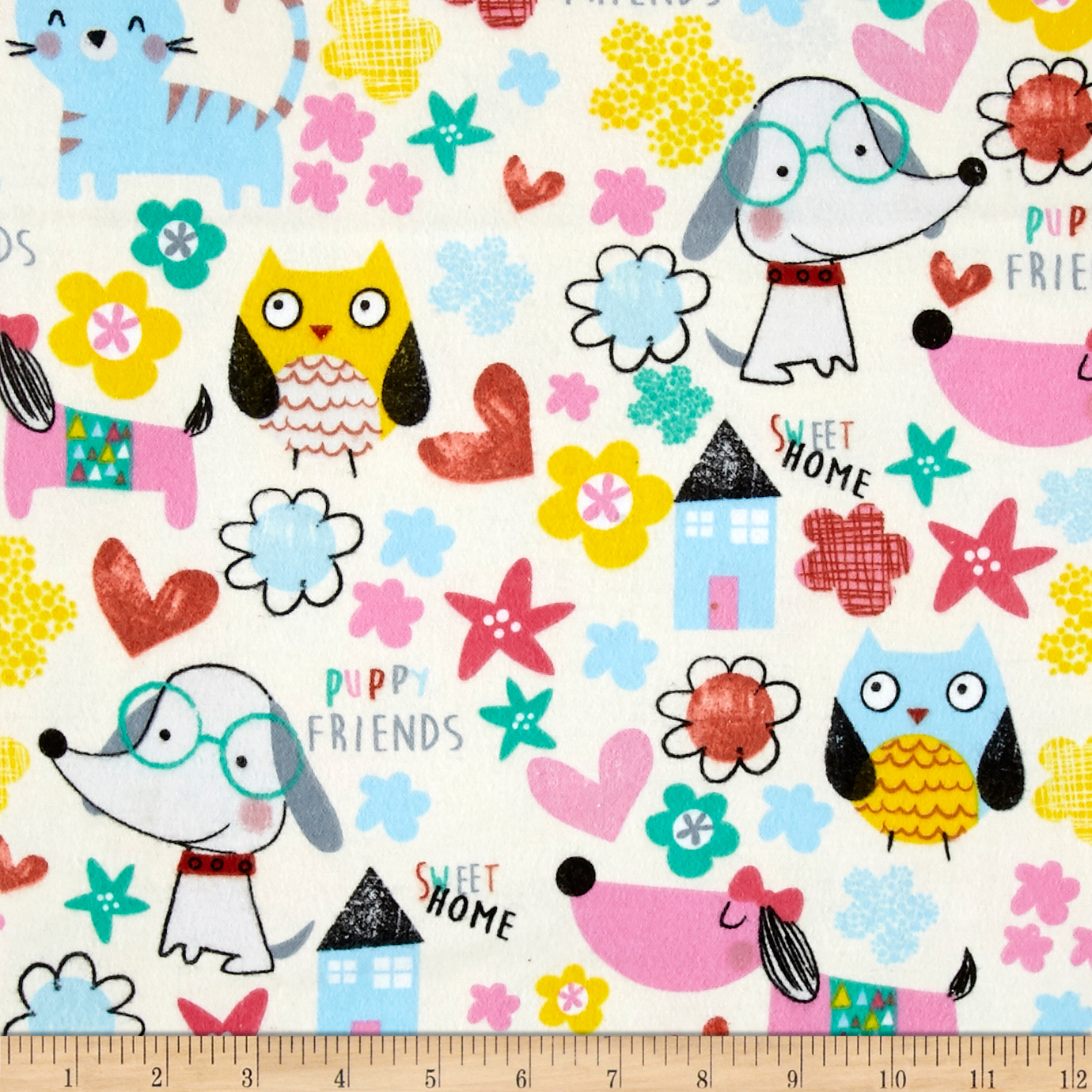 Comfy Flannel Puppy Friends Ivory Fabric