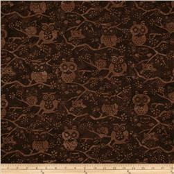 Bali Batiks Handpaints Owls Brown